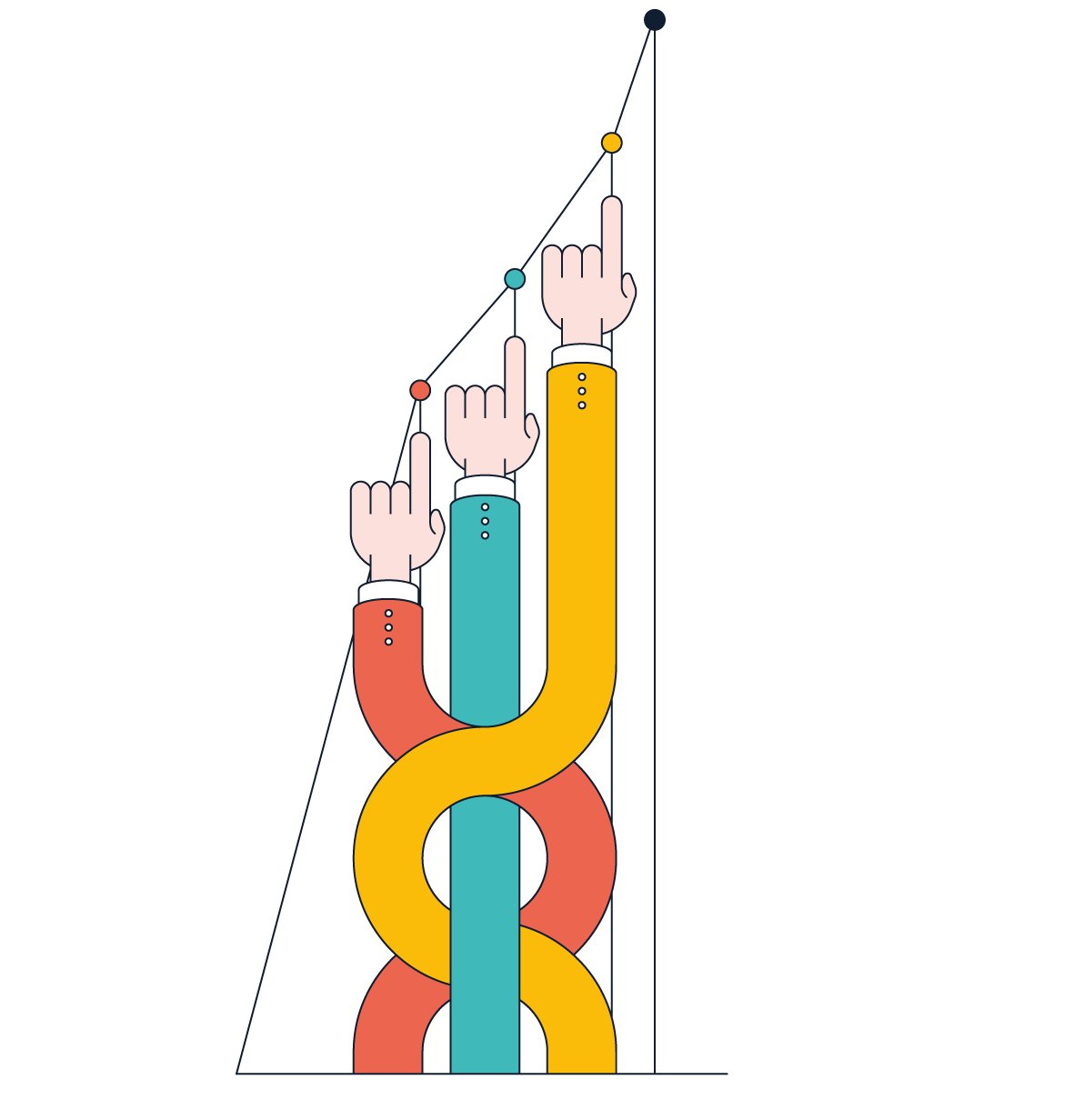 hands pointing to graph points