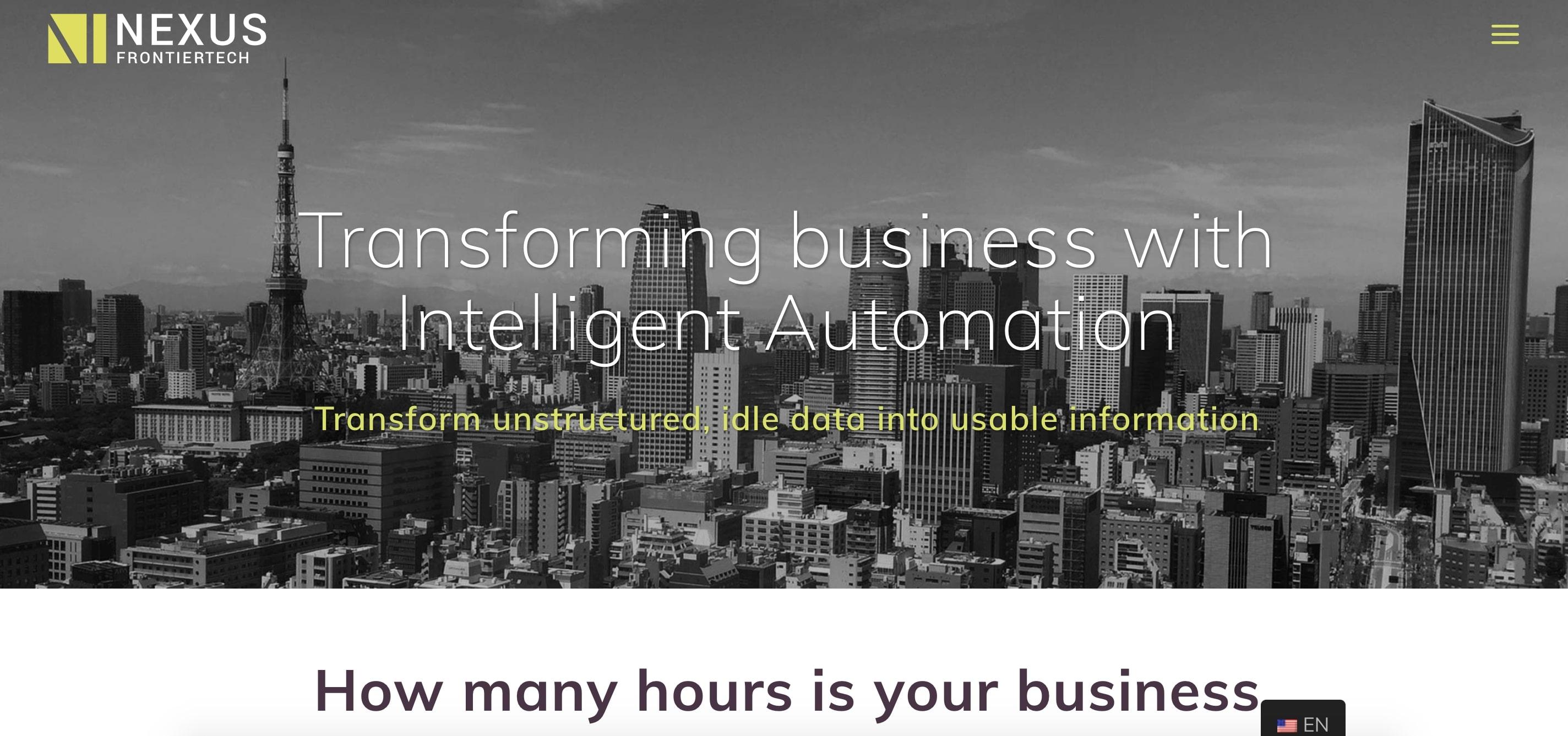 Nexus Frontier Tech AI company website homepage