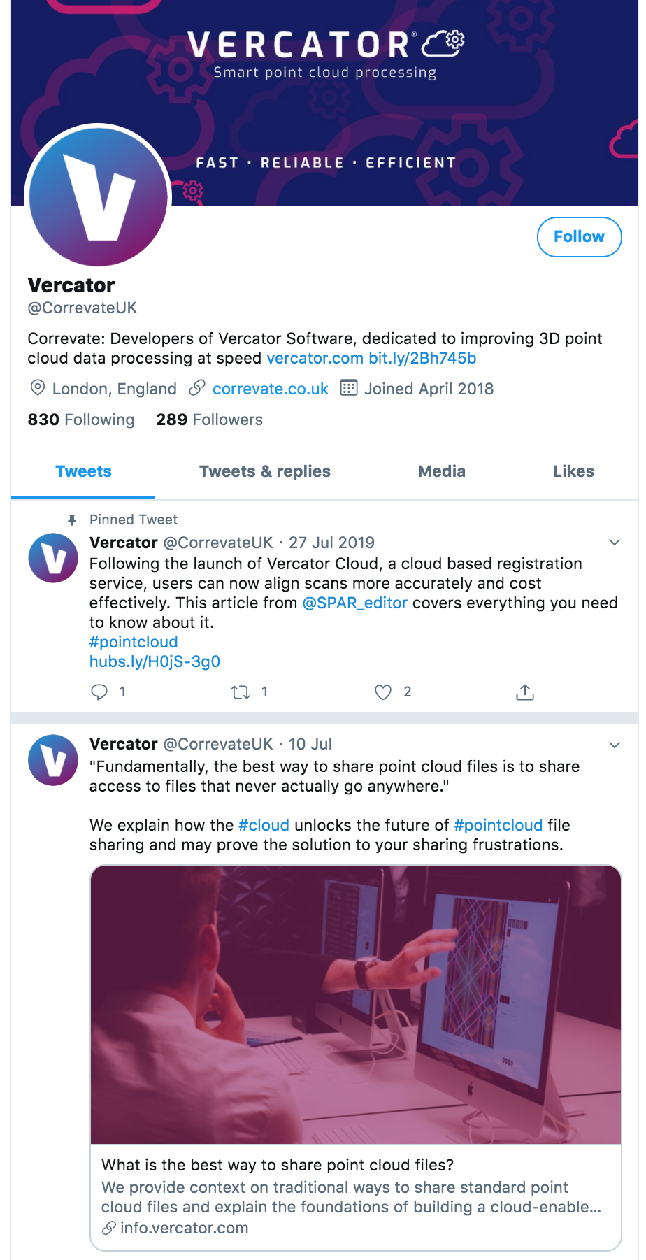 Correvate Twitter profile