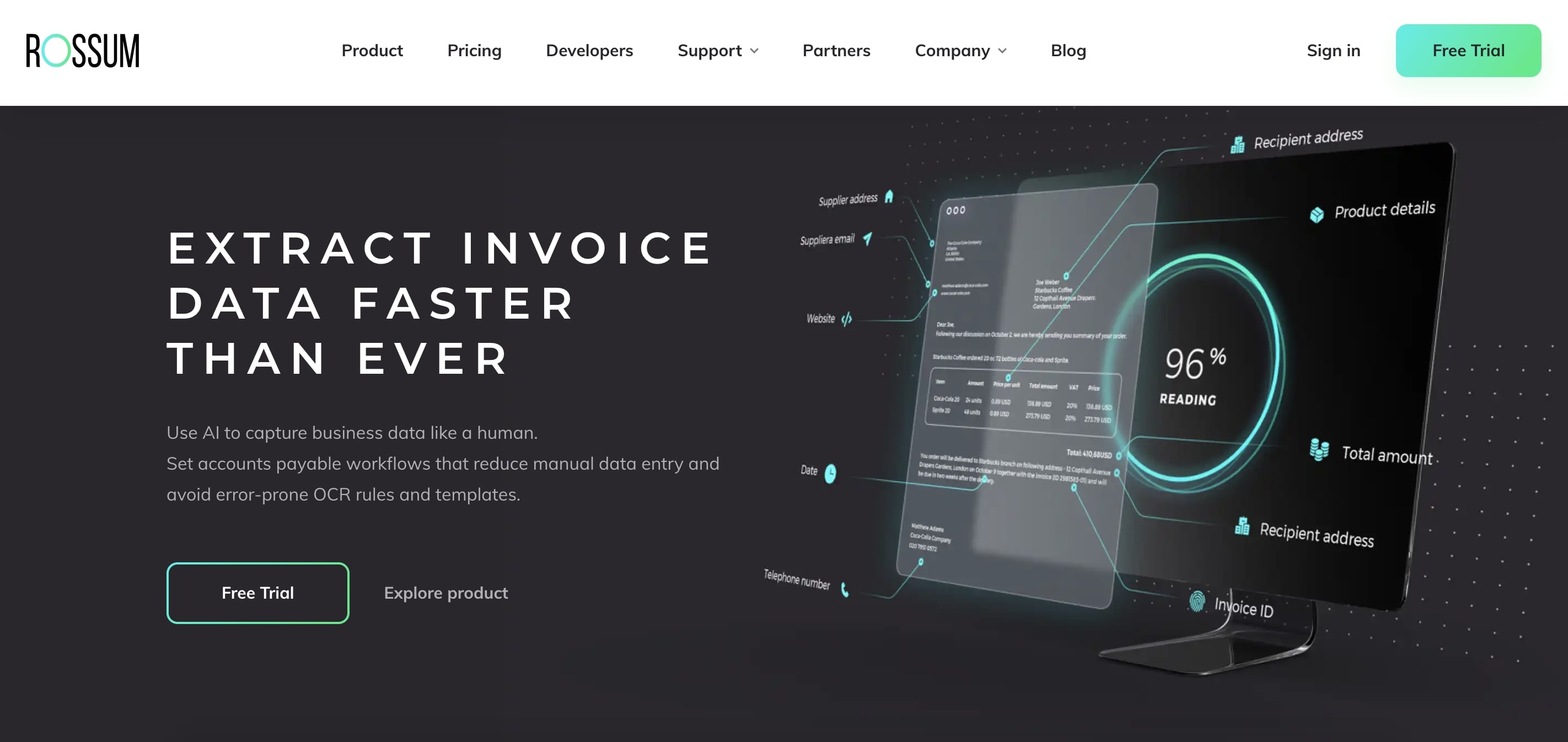 Rossum AI company website homepage