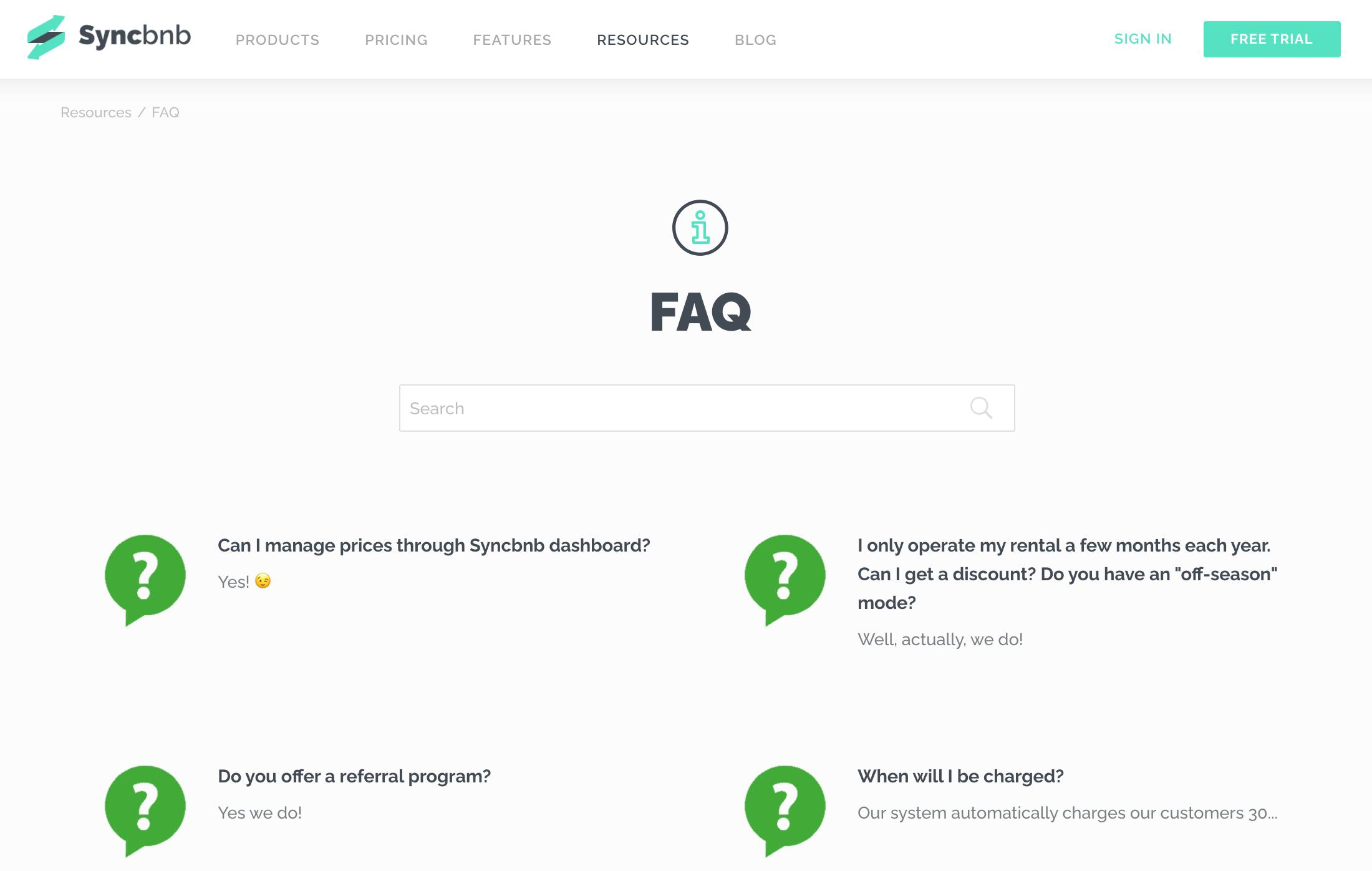 Syncbnb faq page