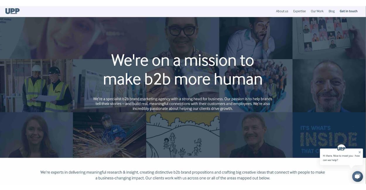 Upp B2B Marketing Agency Website
